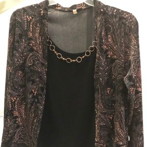 Gold and Black and copper jacket with under blouse